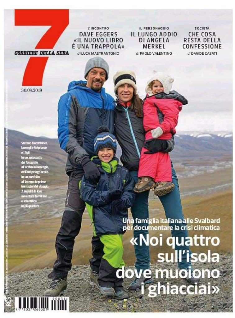 Presentazione del progetto Una famiglia nell'Artico sulla prima pagina di 7 - Rivista del quotidiano nazionale Corriere della Sera.